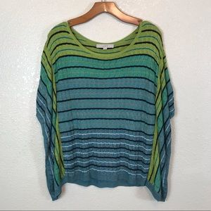 Ann Taylor LOFT Striped Knit Rayon Poncho Sweater
